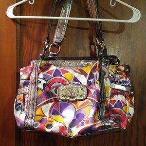 Kathy Van Zeeland brand multicolor shoulder bag